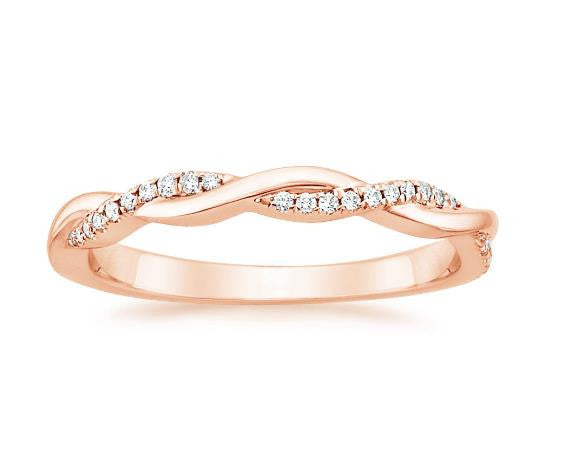 Petite Twisted Diamond Ring in 18k Rose Gold (1/8 ct. tw.) - Bullion & Diamond, Co.