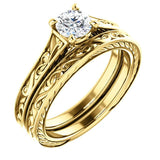 Hand Engraved Solitaire Engagement Ring in 18k Yellow Gold - Bullion & Diamond, Co.