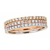 Tri-Colored 14k Gold and Diamond Stacking Rings - Bullion & Diamond, Co.