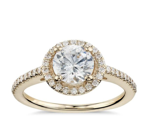 Classic Halo Diamond Engagement Ring in 14k Yellow Gold (1/4 ct.tw.) - Bullion & Diamond, Co.