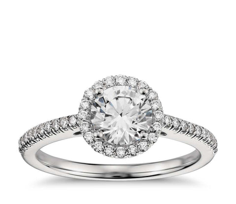 Halo Diamond Engagement Ring in 14k White Gold (1/4 ct.tw. ) - Bullion & Diamond, Co.