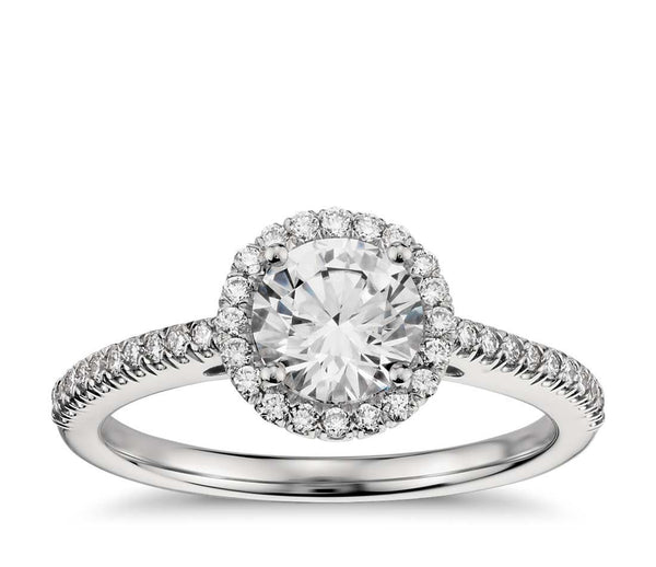 Classic Halo Diamond Engagement Ring in Platinum (1/4 cttw ) - Bullion & Diamond, Co.