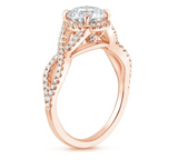 Entwined Halo Diamond Engagement Ring in 18k Rose Gold (1/3 ct. tw.) - Bullion & Diamond, Co.