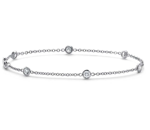 DIAMOND BEZEL BRACELET IN 18K WHITE GOLD  (1/2 CT. TW.) - Bullion & Diamond, Co.