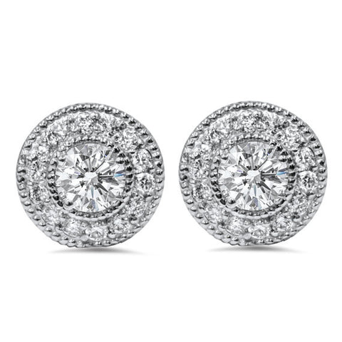 Vintage Halo Diamond Stud Earrings in 14k White Gold (0.76 ct.tw.)