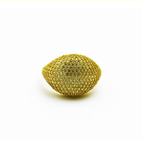 Pave Diamond Dome Ring In 14k Yellow Gold - Bullion & Diamond, Co.