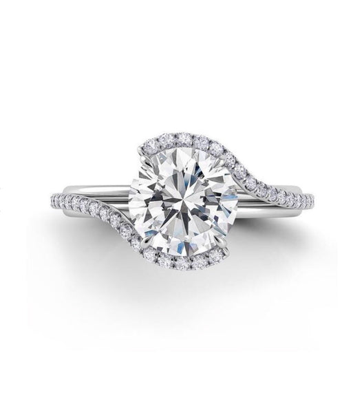 Round Cut Swirl Engagement Ring In 18k White Gold - Bullion & Diamond, Co.