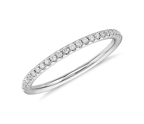 Micropavé Diamond Wedding Band in 14k White Gold (1/10 ct. tw.) - Bullion & Diamond, Co.