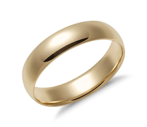 Comfort Fit Wedding Band in 14k Yellow Gold (5mm)