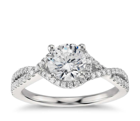 Twisted Halo Diamond Engagement Ring in Platinum (1/3 ct. tw.) - Bullion & Diamond, Co.