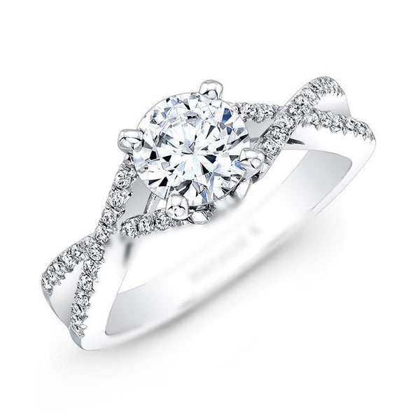 Infinity Twist Micropave Diamond Engagement Ring in 14k White Gold - Bullion & Diamond, Co.