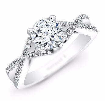 Infinity Twist Micropave Diamond Engagement Ring in 18k White Gold