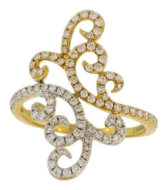 Swirling Diamond Cocktail Ring in 18k Diamond Gold