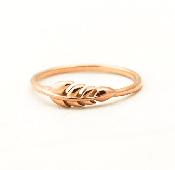 Nature Inspired Leaf Ring in 14k Rose Gold