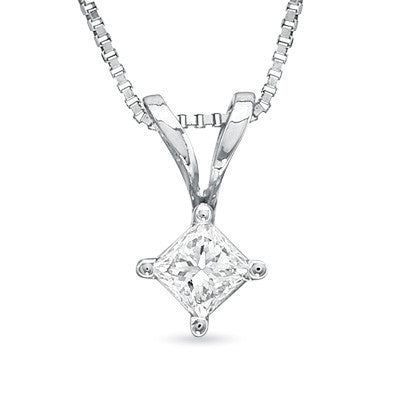 Princess Cut Diamond Solitaire Pendant in 14k White Gold (1/2 ct. tw.)