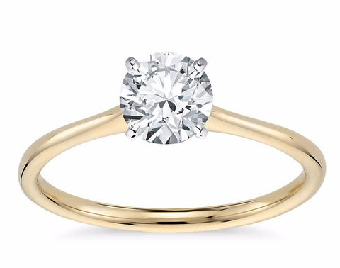 Solitaire Diamond Engagement Ring in 14k Yellow Gold - Bullion & Diamond, Co.