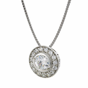 Round Diamond Bezel Set Halo Pendant in 14k White Gold (1/2 ct. tw.)