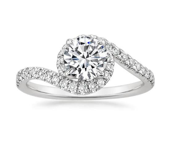 Halo Diamond Twist Engagement Ring Setting 18k White Gold - Bullion & Diamond, Co.