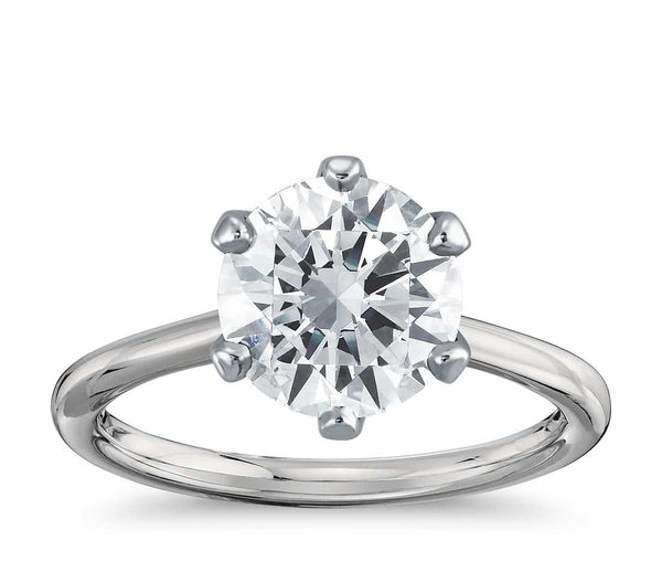 Six-Prong Solitaire Engagement Ring in 18k White Gold - Bullion & Diamond, Co.