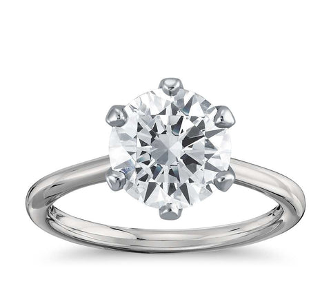 Six-Prong Solitaire Engagement Ring in 18k White Gold