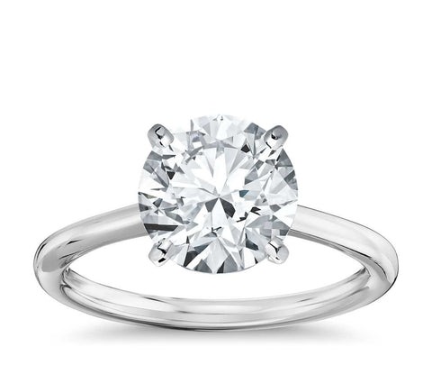 Petite Solitaire Engagement Ring in 18k White Gold - Bullion & Diamond, Co.
