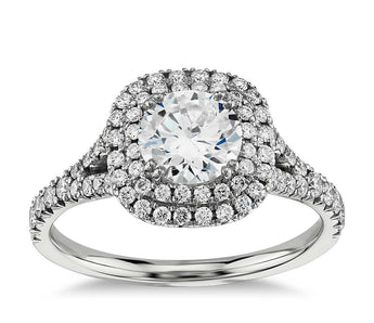 Double Halo Cushion Cut  Diamond Engagement Ring in 14k White Gold
