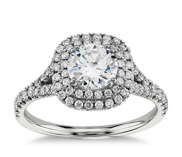Double Halo Cushion Cut  Diamond Engagement Ring in 14k White Gold - Bullion & Diamond, Co.