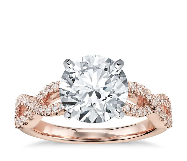 Infinity Twist Micropavé Diamond Engagement Ring in 14k Rose Gold (1/4 ct. tw.) - Bullion & Diamond, Co.