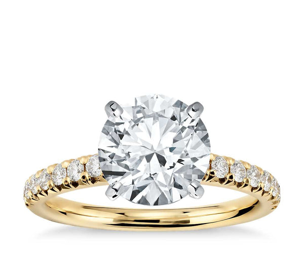 French Pavé Diamond Engagement Ring in 14k Yellow Gold (1/4 ct. tw.) - Bullion & Diamond, Co.
