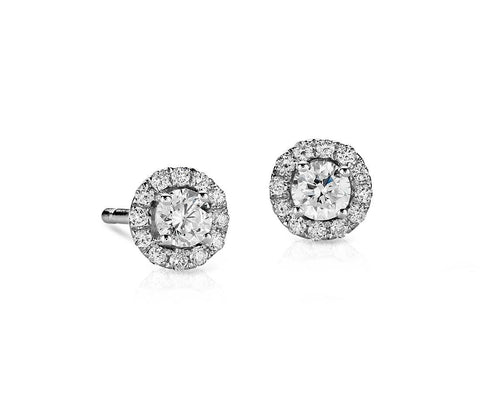 Diamond Halo Stud Earrings in 14k White Gold (0.5 ct.tw.)