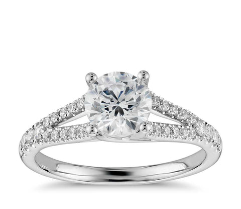 Split Shank Diamond Engagement Ring in 14k White Gold (1/3 ct. tw.) - Bullion & Diamond, Co.
