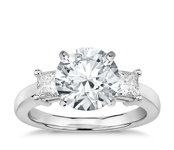 Princess-Cut Three-Stone Engagement Ring in Platinum (1/2 ct. tw.) - Bullion & Diamond, Co.