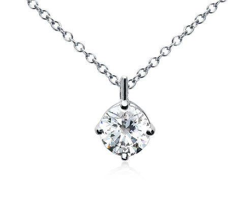 Four-Prong Diamond Pendant in 18k White Gold (1 CT. TW.) - Bullion & Diamond, Co.