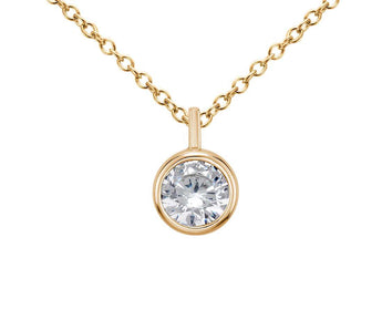 Bezel Solitaire Pendant in 18k Yellow Gold (1/4 CT. TW.)