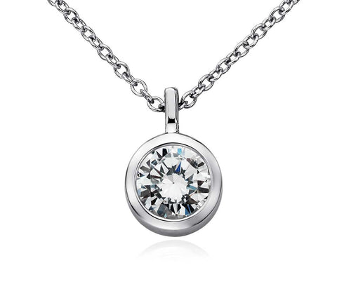 Bezel Solitaire Pendant in 14k White Gold (1/4 CT. TW.)