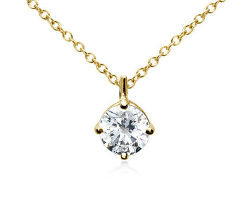 Four-Prong Diamond Pendant 14K Yellow Gold  (1/2 CT. TW.)