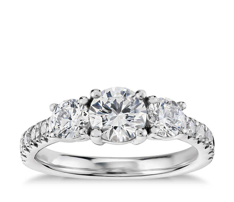Three-Stone Pavé Diamond Engagement Ring in 14k White Gold (1/4 ct. tw.)