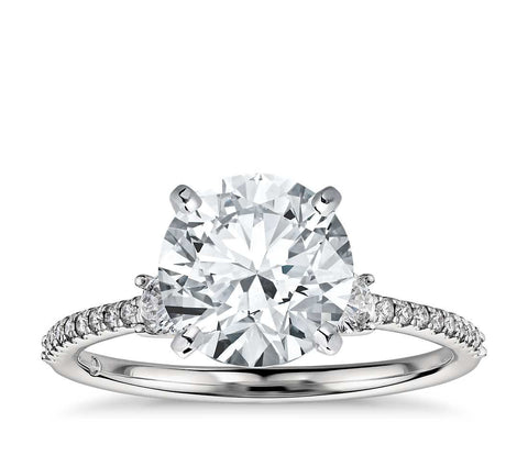 Petite Micropavé Trio Diamond Engagement Ring in Platinum (1/4 ct. tw.) - Bullion & Diamond, Co.