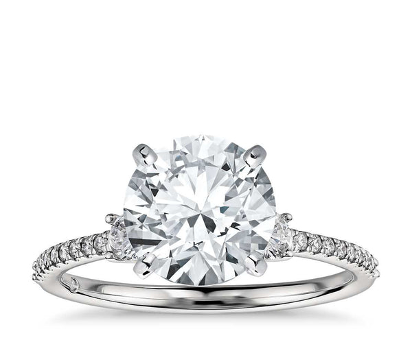 Petite Micropavé Trio Diamond Engagement Ring in 18k White Gold (1/4 ct. tw.) - Bullion & Diamond, Co.