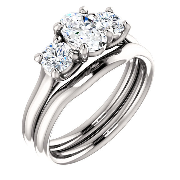 Three-Stone Diamond Engagement Ring in 14k White Gold - Bullion & Diamond, Co.