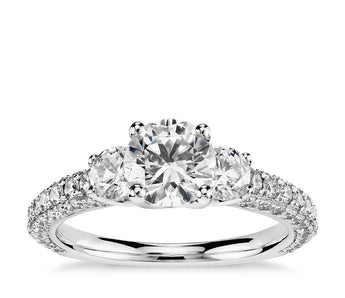 Three-Stone Trio Micropavé Diamond Engagement Ring in Platinum (1 ct. tw.)