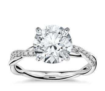 Twist Diamond Engagement Ring in 18k White Gold (1/10 ct. tw.)