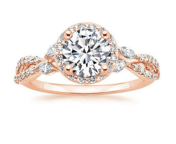 Halo Diamond Engagement Ring in 18k Rose Gold (1/2 ct. tw.)