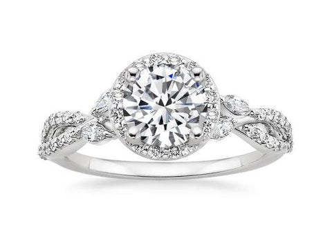 Halo Diamond Engagement Ring in 18k White Gold (1/2 ct. tw.) - Bullion & Diamond, Co.