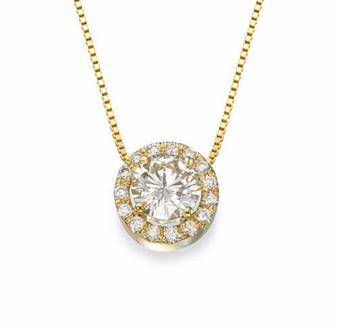 18k Yellow Gold Diamond Halo Necklace - Bullion & Diamond, Co.