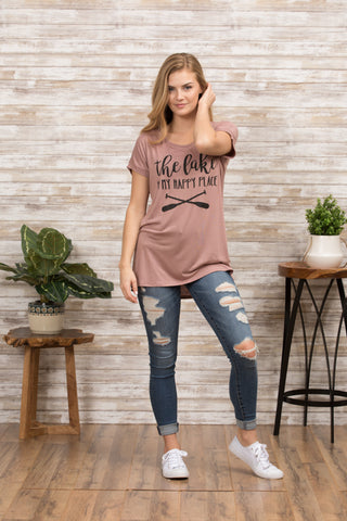 T5342X the lake is my happy place tee plus size