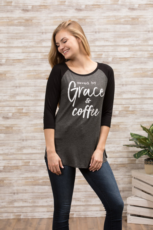 T6593 saved by grace and coffee elbow baseball