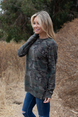 T7456-DKCAMO long sleeve dark camouflage side drawstrings sweatshirt