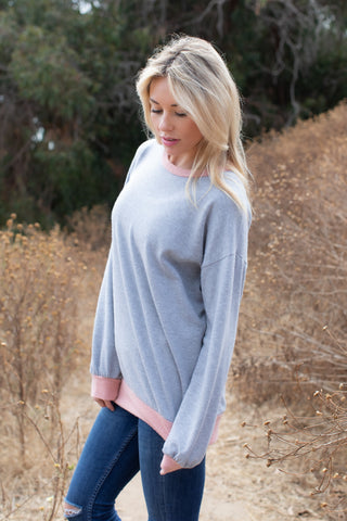 T8334 long sleeve brushed terry contrast sweatshirt