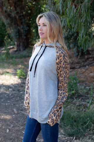 T8414-AN long sleeve animal sleeves sweatshirt hoodie
